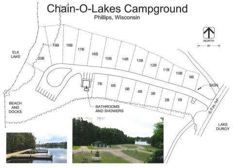 Chain-O-Lakes Campground Map | Phillips, Wisconsin